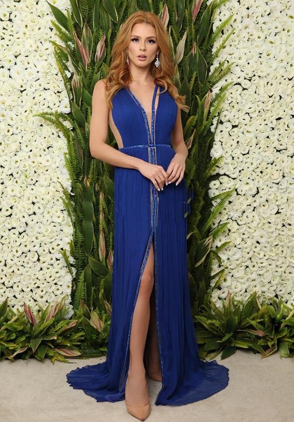 vestido de festa azul royal longo
