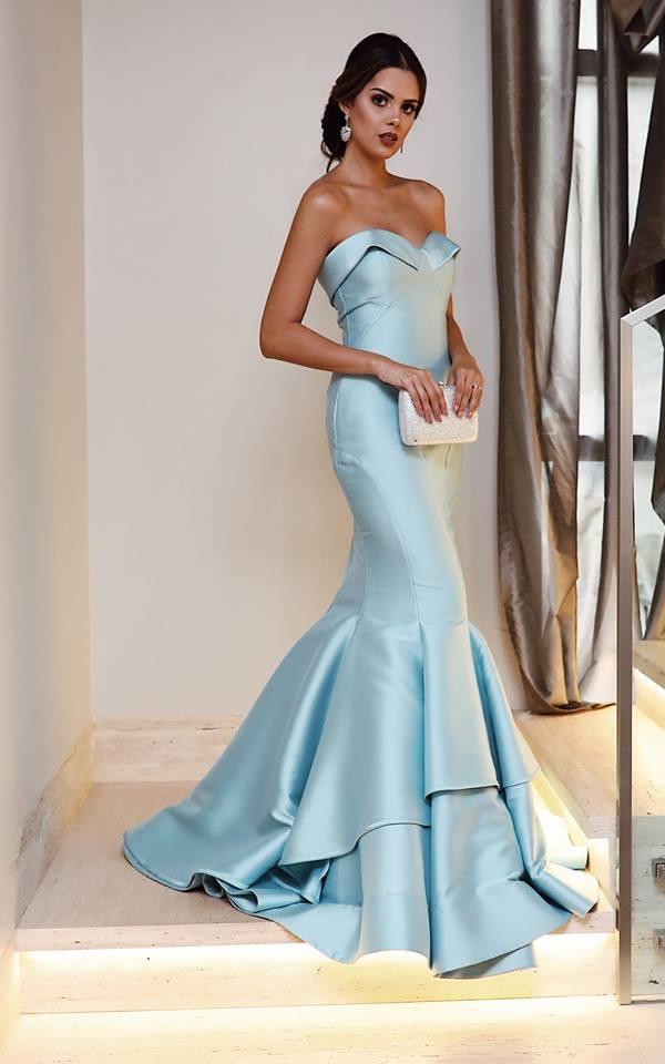 vestido de festa longo azul modelo sereia