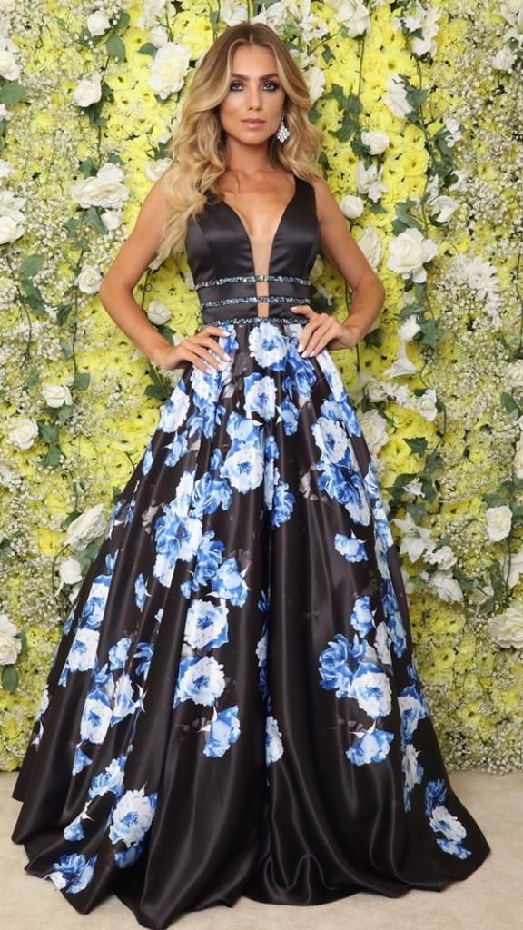 vestido de festa longo com estampa floral