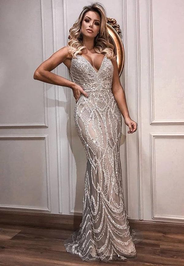 vestido de festa prata bordado longo