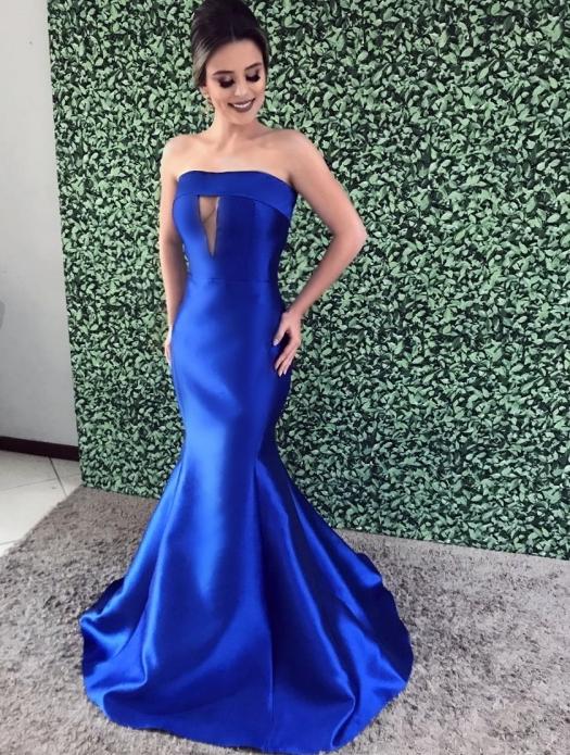 vestido de festa longo modelo seria azul klein