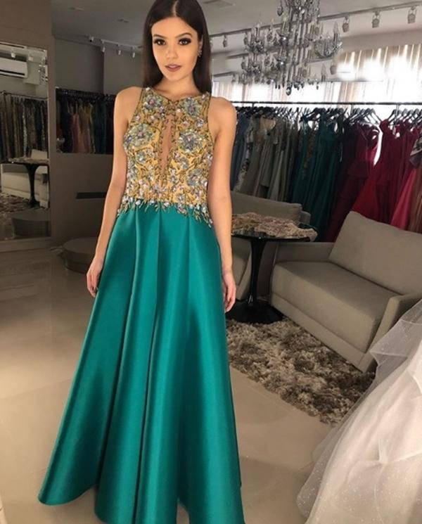 vestido de festa longo verde 2019