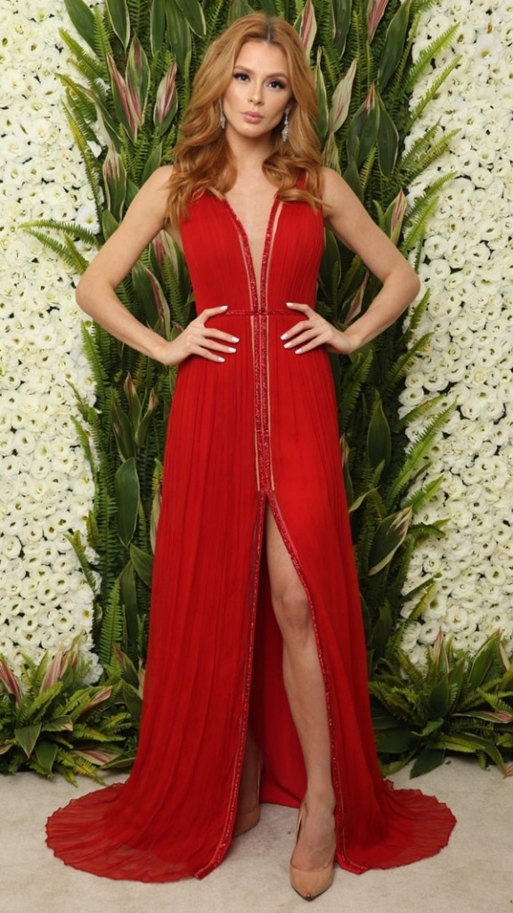 vestido de festa vermelho longo
