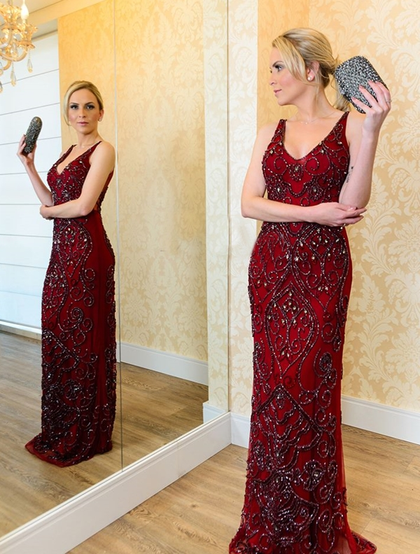 vestido de festa marsala bordado