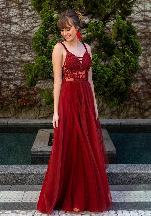 vestido de festa marsala vermelho
