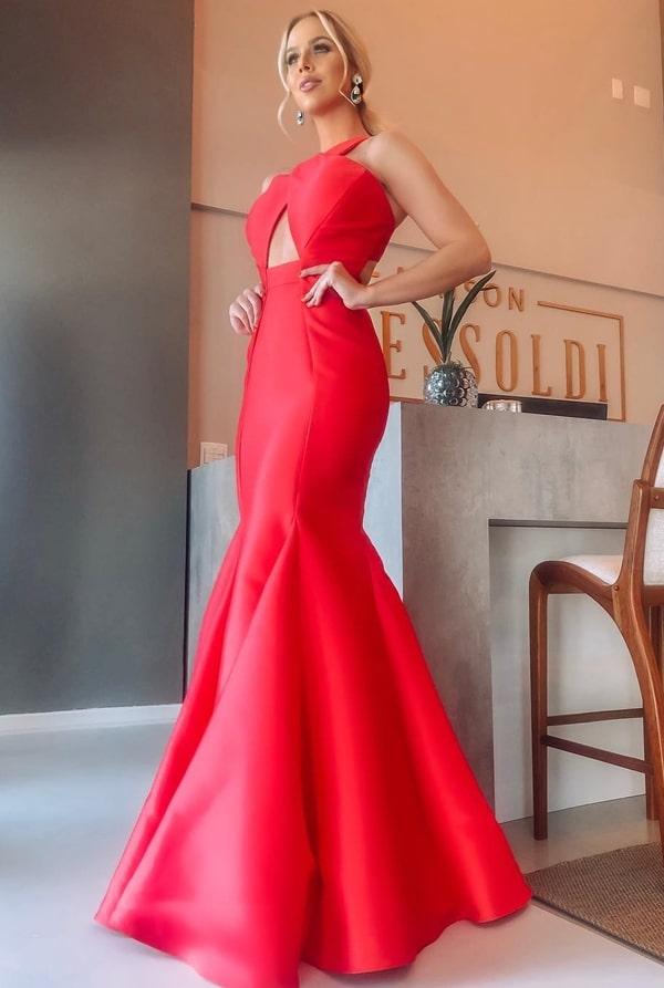vestido de festa longo vermelho modelo sereia