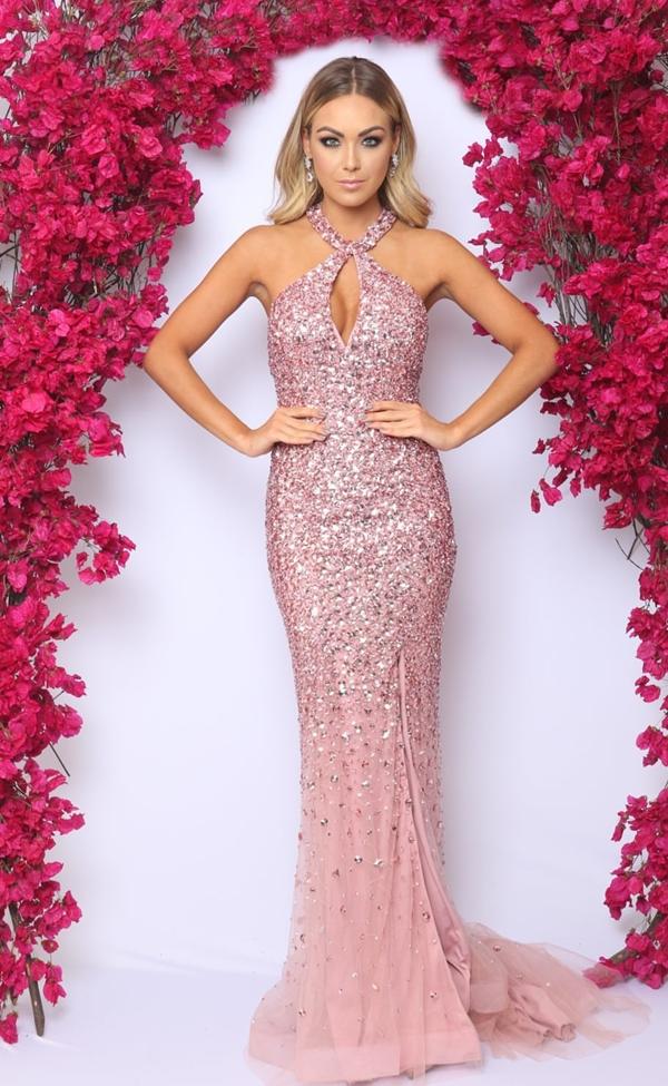 vestido longo rosa bordado cristais