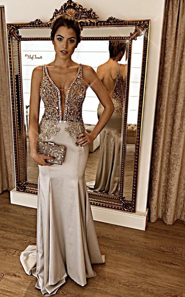 vestido de formatura prata