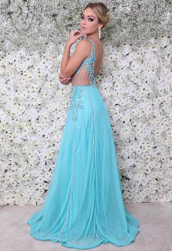vestido longo azul tiffany