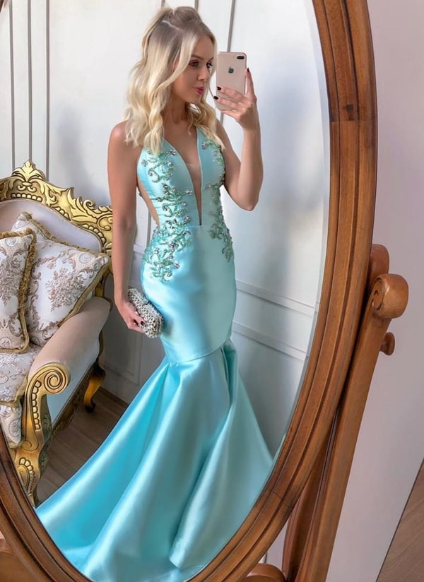 vestido longo azul tiffany modelo sereia