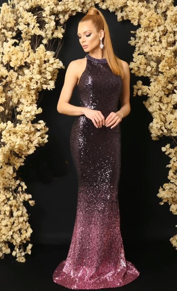 vestido de festa longo com brilho vinho