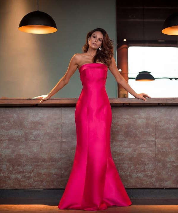 vestido de festa sereia rosa pink
