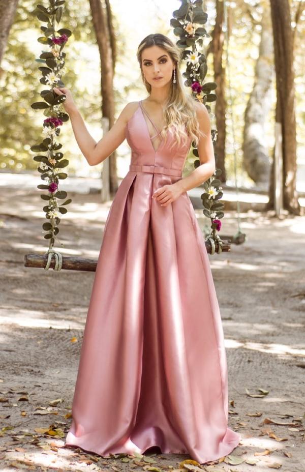 vestido longo rosa saia estilo princesa