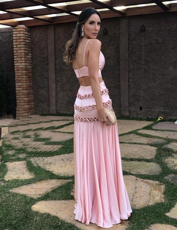 vestido longo rose com saia fluida