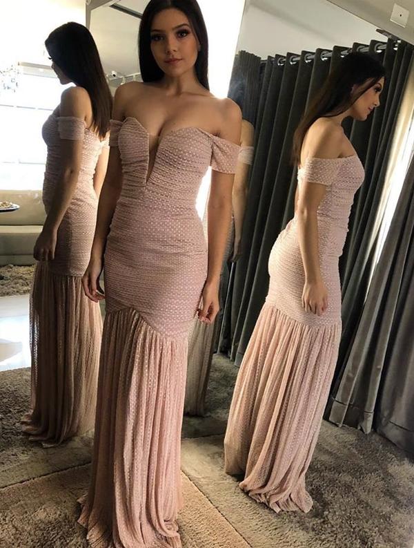 vestido longo rose ombro a ombro