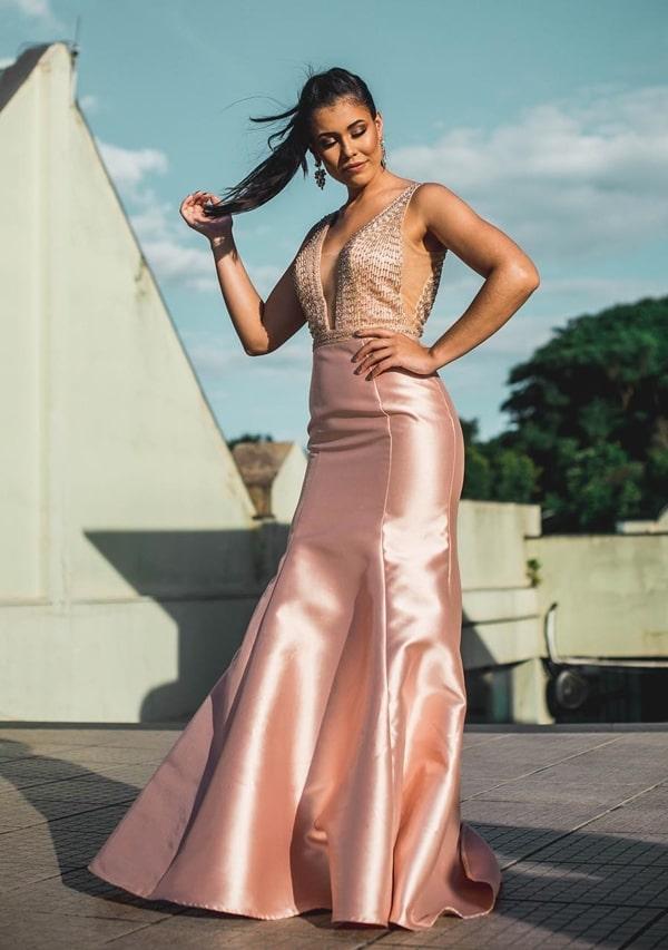 Vestido de festa longo rose modelo sereia