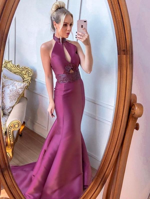 vestido de festa  longo modelo sereia com gola alta