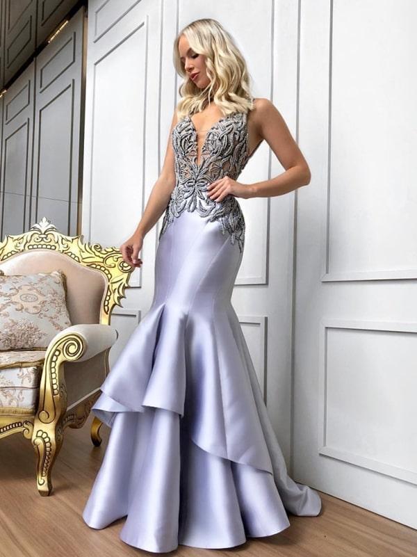 vestido longo prata modelo sereia