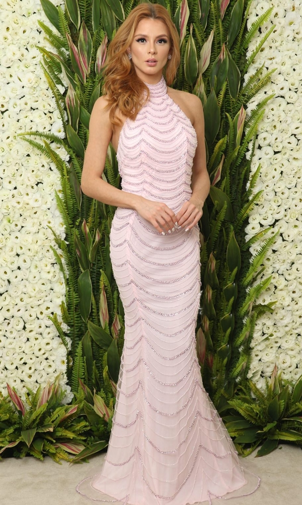 vestido longo rose com costa nua