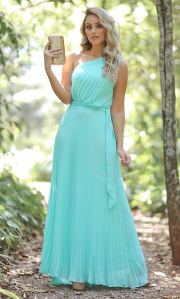 vestido longo verde tiffany