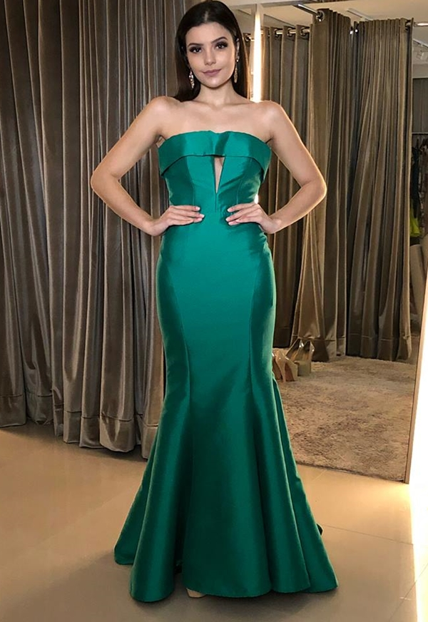 vestido de festa sereia verde
