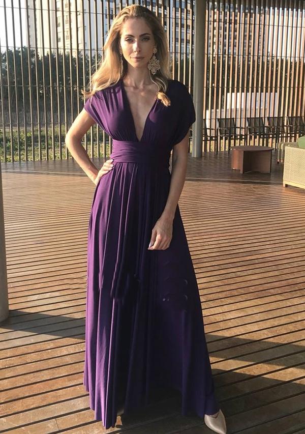 vestido violeta longo para madrinha