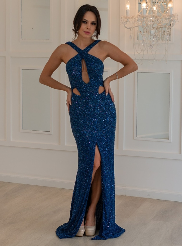 vestido de festa longo com brilho azul