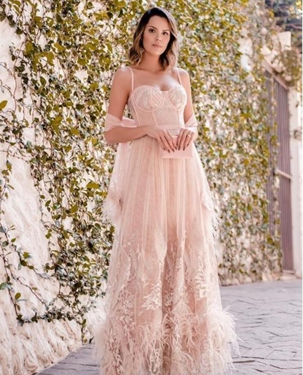 vestido corpete longo rose