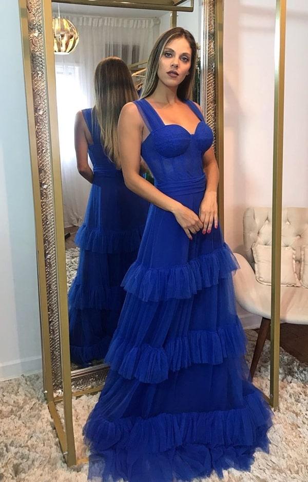 vestido de festa longo azul bic para madrinha de casamento