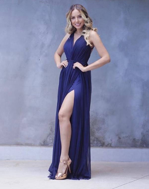 vestido de festa longo azul marinho