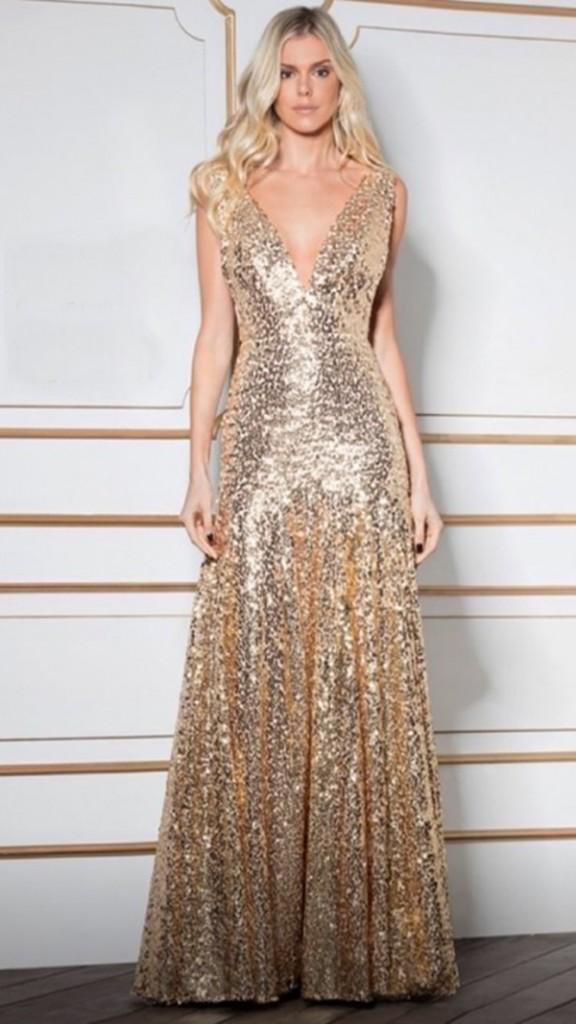vestido de festa longo com brilho dourado
