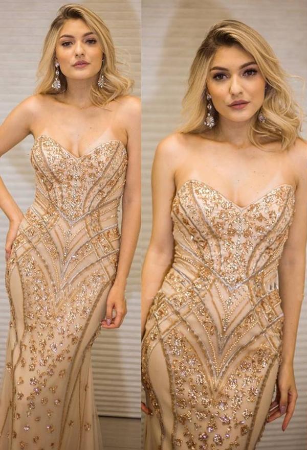vestido dourado longo tomara que caia