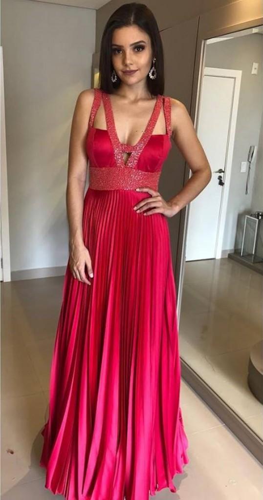 vestido pink longo plissado