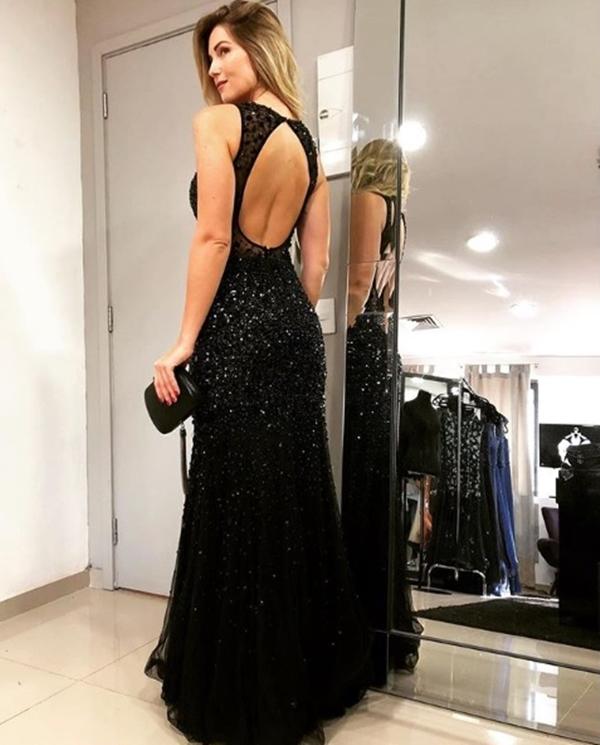 vestido de festa longo com brilho preto