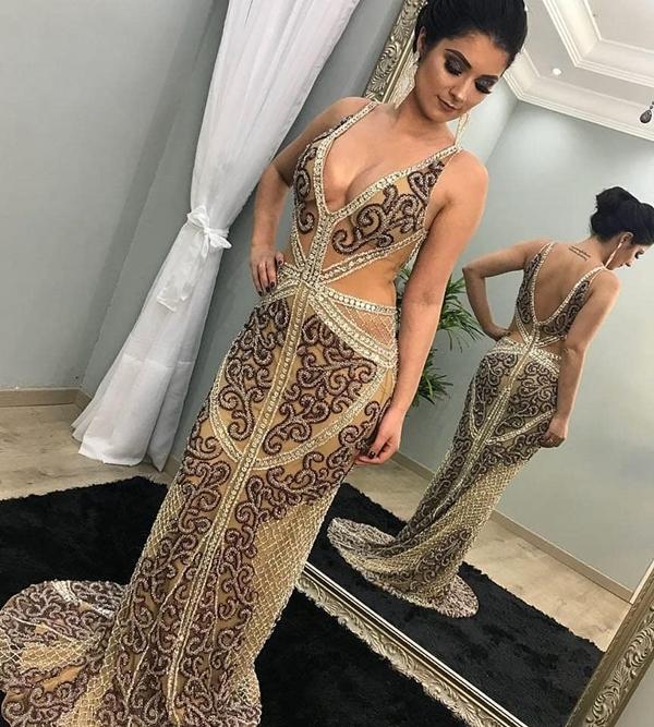 vestido bordado formatura