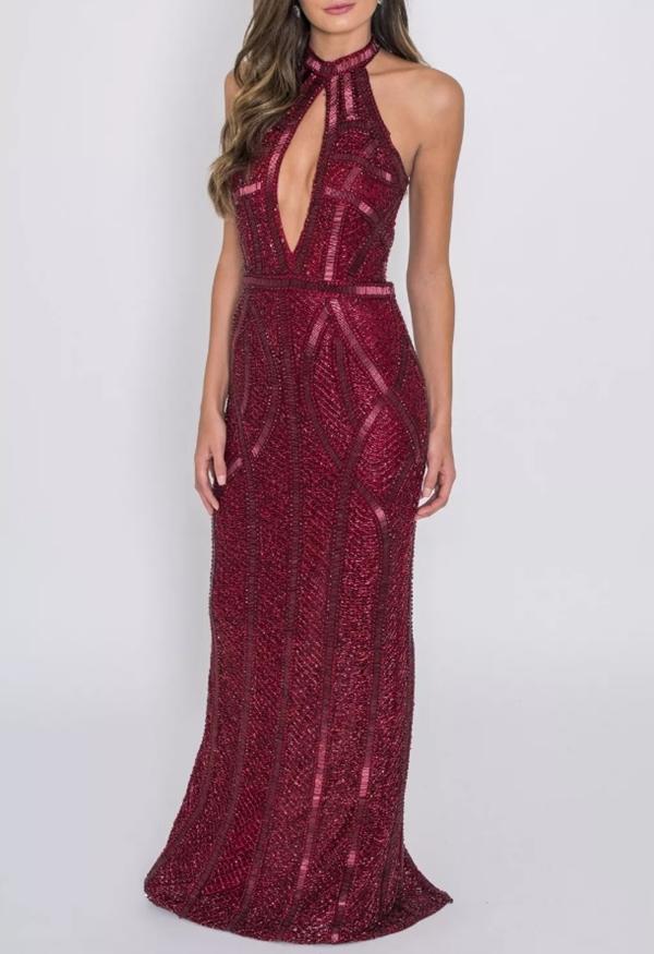 vestido bordado marsala