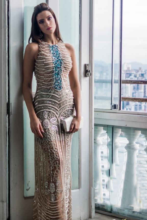 vestido de festa bordado perola