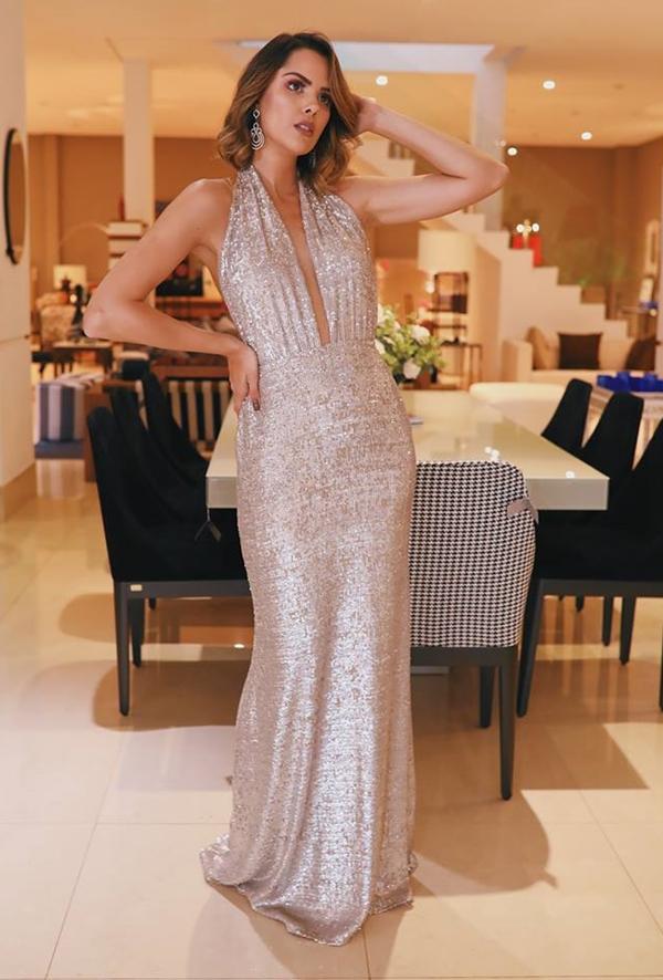 vestido de festa longo com brilho