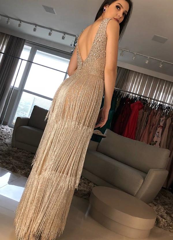 vestido de festa bordado franja