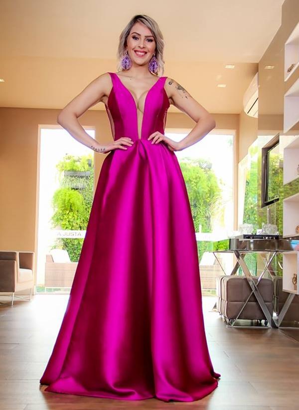 vestido fúcsia longo
