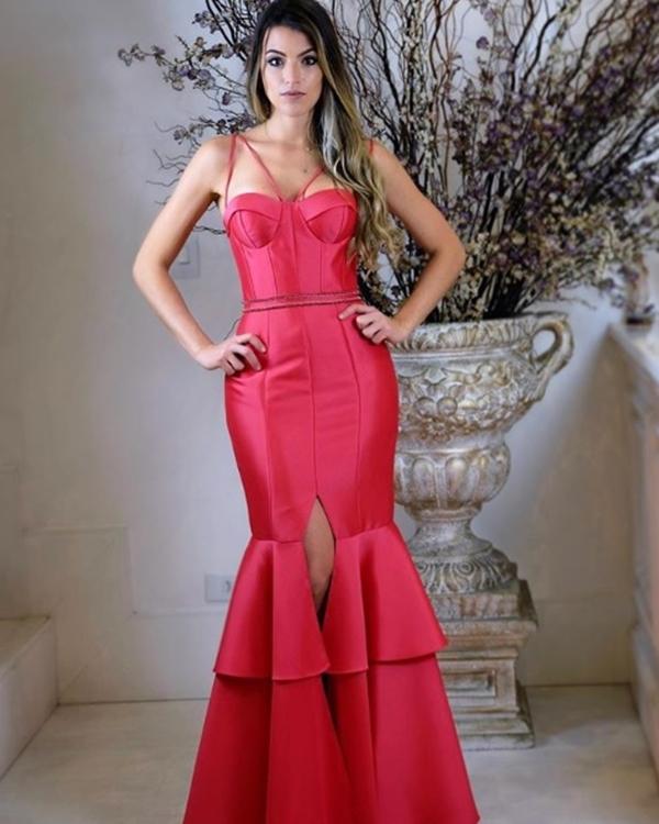 vestido corpete longo rosa pink