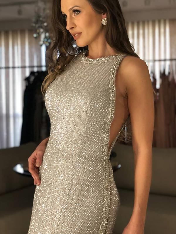 vestido de festa prata longo