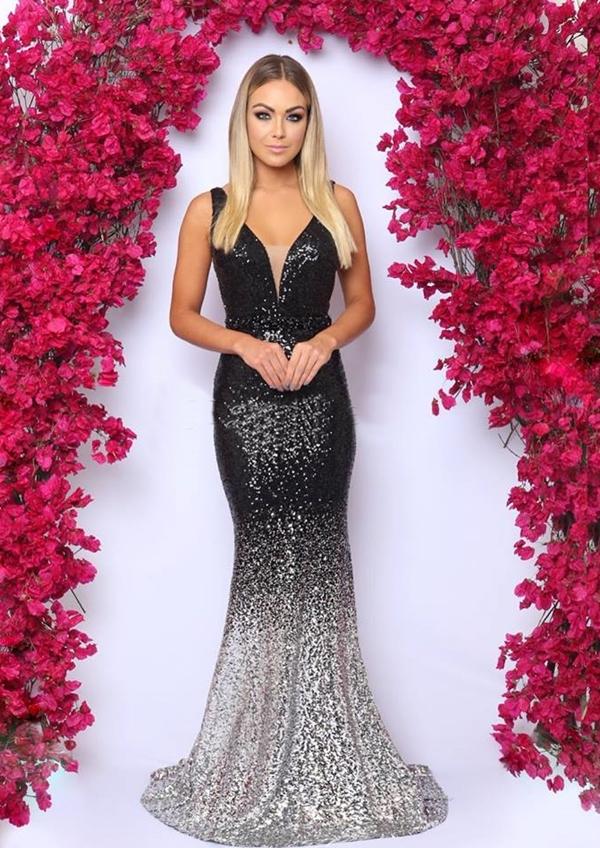 vestido de festa com brilho longo preto