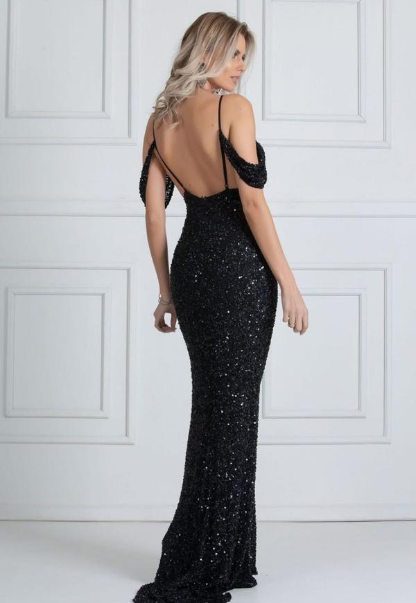 vestido de festa preto longo costas nuas