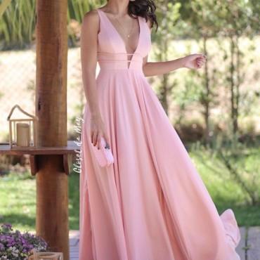 vestido longo rosa claro