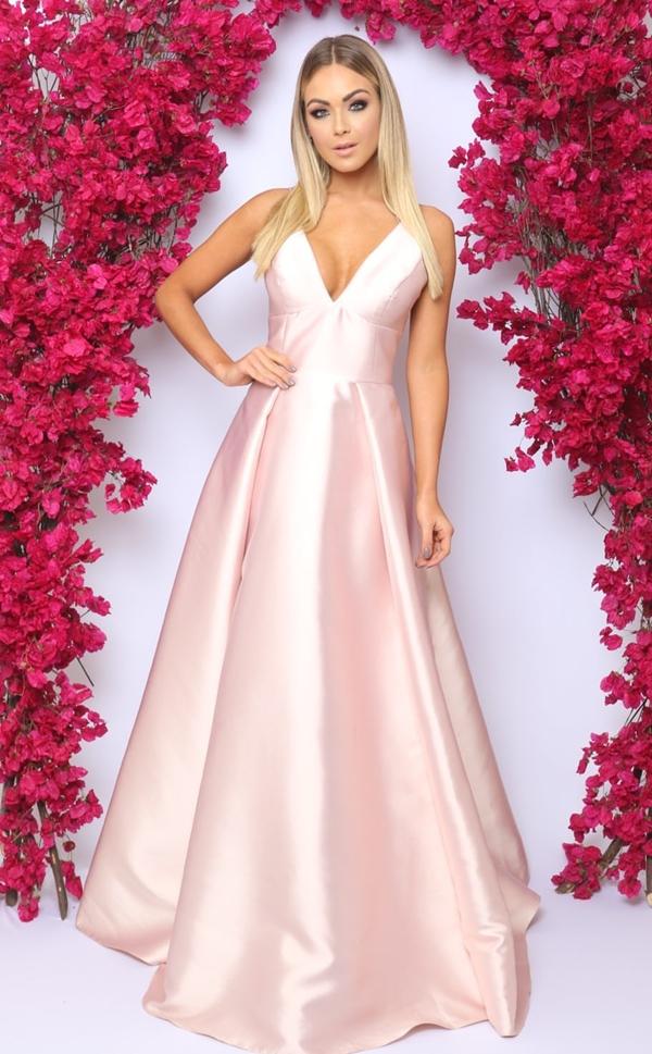 vestido longo rose princesa