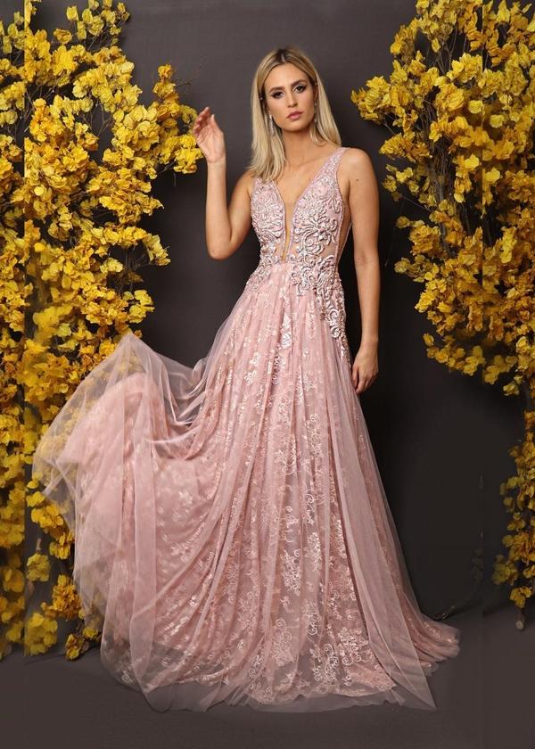vestido longo rosa claro renda