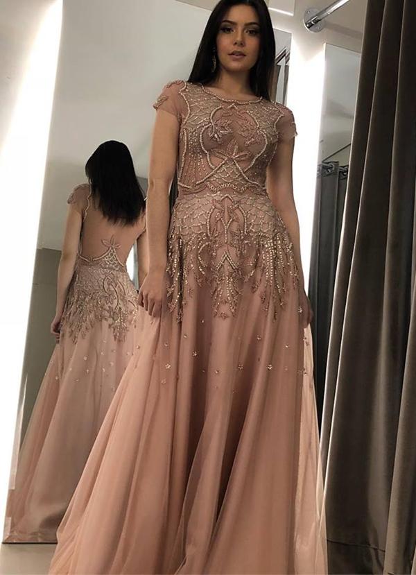 vestido de festa longo com manguinha
