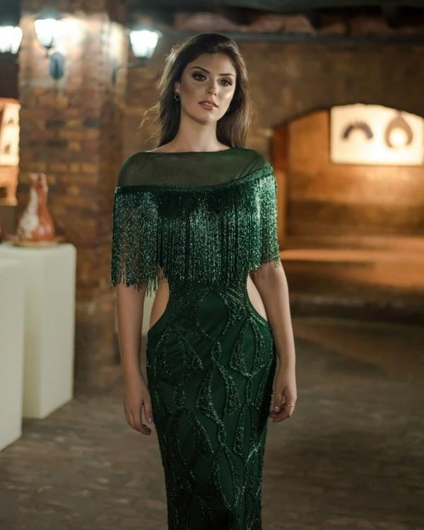 vestido bordado verde formatura