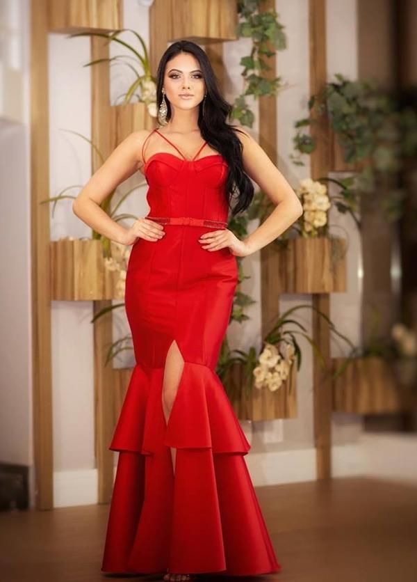 vestido longo vermelho sereia com fenda